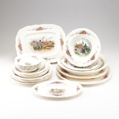 "Sarreguemines ""Obernai"" Faienceries Porcelain Dinner and Serveware"