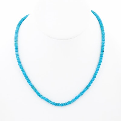 14K Yellow Gold Turquoise Strand Necklace