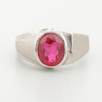 Vintage 10K and 14K Diamond and Synthetic Ruby Masonic Ring with