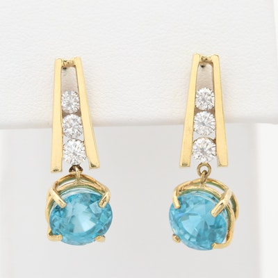 14K Yellow Gold Blue Topaz and Diamond Drop Earrings