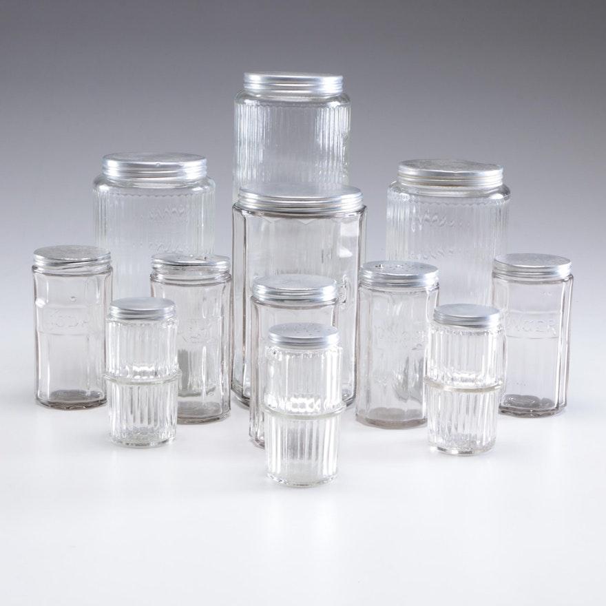 Lidded Glass Spice Jars, Mid-Century