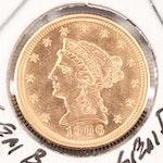 1906 Liberty Head $2.50 Quarter Eagle Gold Coin