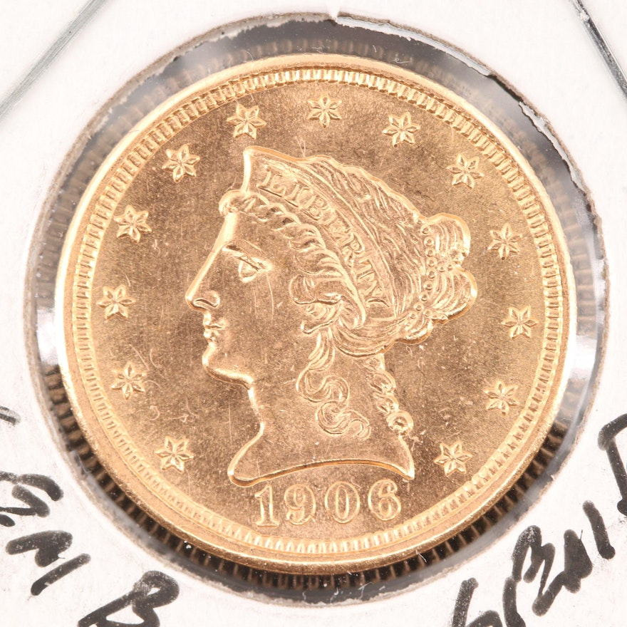 1906 Liberty Head $2.50 Quarter Eagle Gold Coin