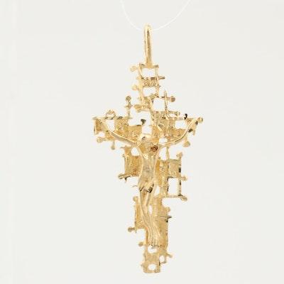 18K Yellow Gold Crucifix Pendant