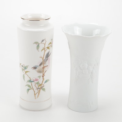 German Kaiser Bisque Vase and Andrea by Sadek Hand Painted Porcelain Vase