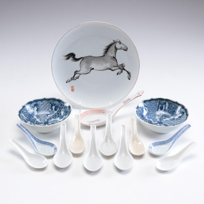 Rosery Porcelain Plate and Other Chinese and Japanese Serveware