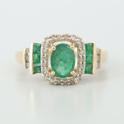 14K Yellow Gold Emerald Ring with Diamond Accents
