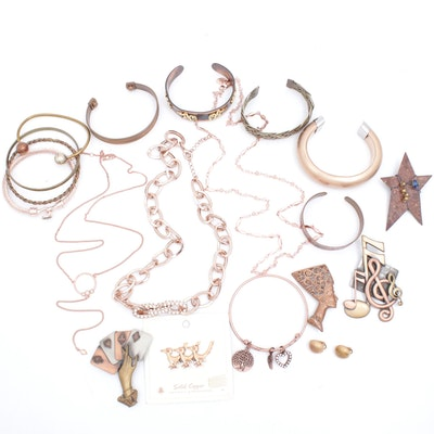 Copper and Rose Gold Tone Jewelry Assortment