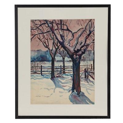Robert T. Hayes Winter Watercolor Panting