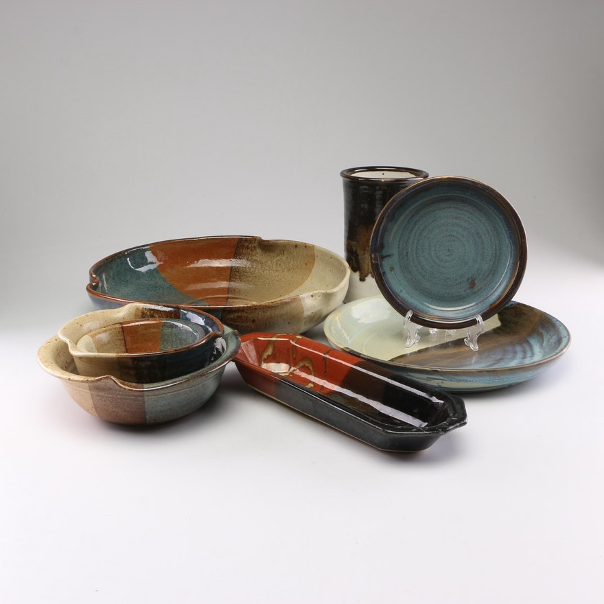 Hand-thrown Glazed Ceramic Bowls and Trays with Vase