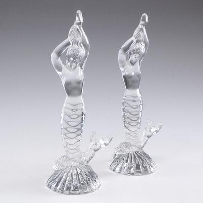 Fostoria Glass Mermaid Bookends, Mid-Century