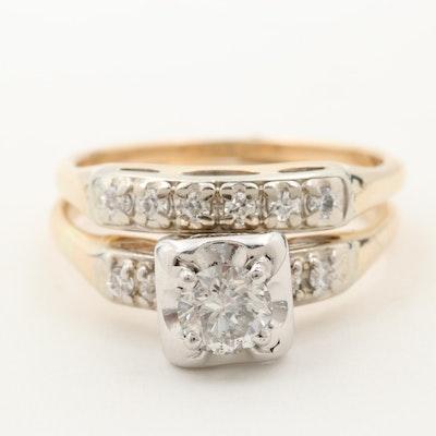 14K Yellow and White Gold Diamond Ring with Matching Diamond Band