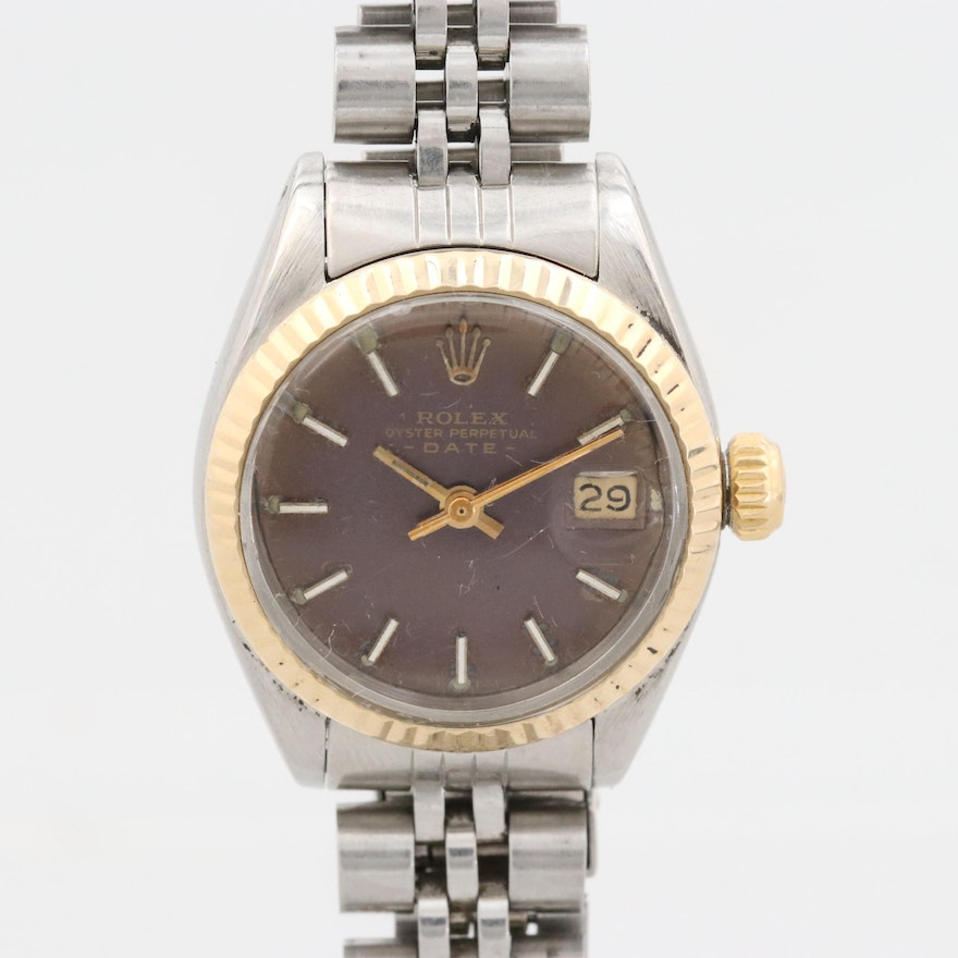Vintage Rolex Date 14K Gold and Stainless Steel Wristwatch, 1979