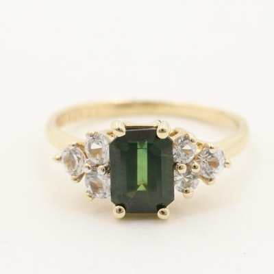 10K Yellow Gold 1.39 CTW Green Sapphire with White Sapphire Accents Ring