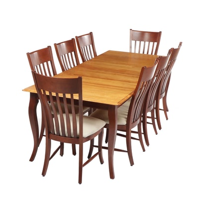 Contemporary Bermex Transitional Mahogany Finished Dining Table with 8 Chairs