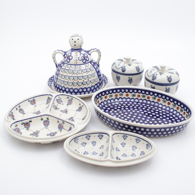 Boleslawiec Handmade Earthenware Relish Trays and Other Serveware