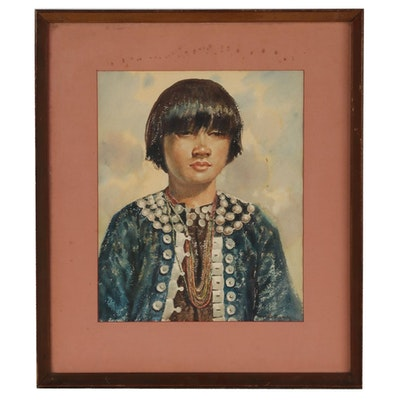 Ngwe Gaing Burmese Watercolor Portrait