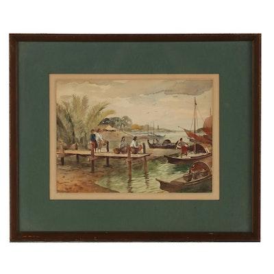 Ngwe Gaing Watercolor Painting of Dock Scene