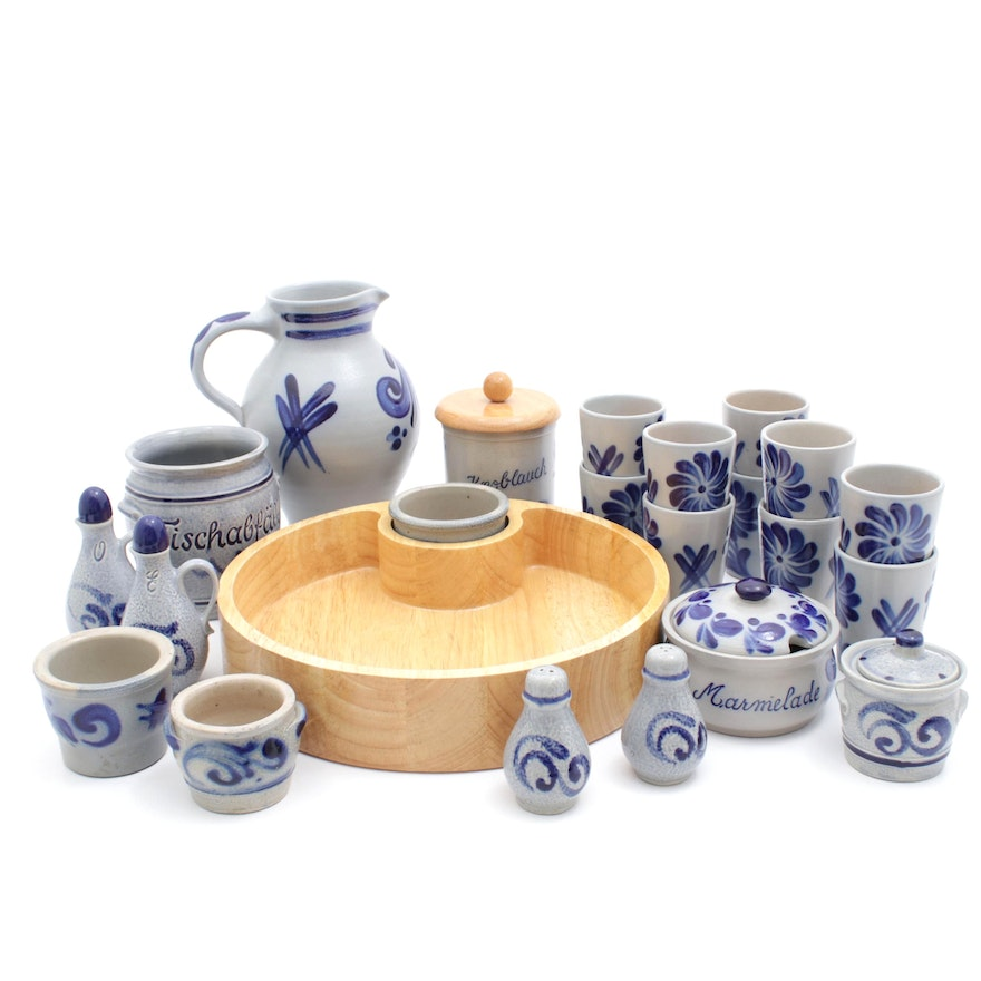Schilz and Other Salt Glazed Earthenware with Pitcher, Serving Tray, and Cups