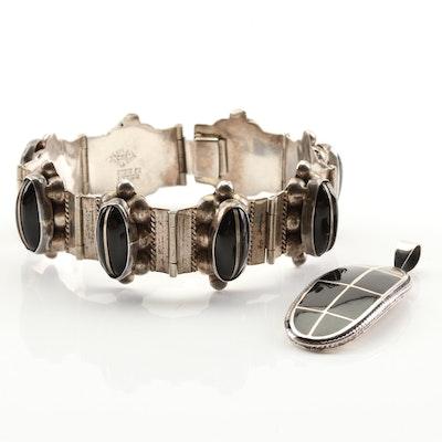 Sterling silver Black Onyx Bracelet and Black Enamel Pendant