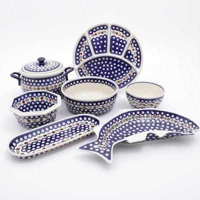 Handmade Boleslawiec Earthenware Platters, Relish Dish and Other Serveware