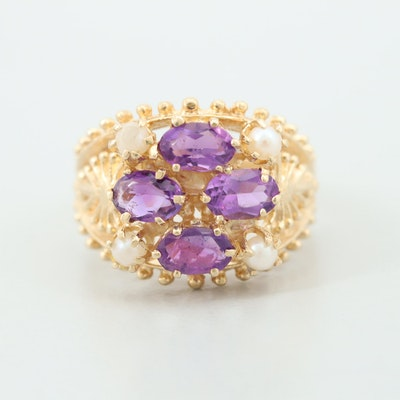 14K Yellow Gold Cultured Pearl and Amethyst Open Work Design Ring