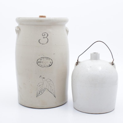 Union Stoneware Butter Churn Crock with Stoneware Jug, Early 20th Century