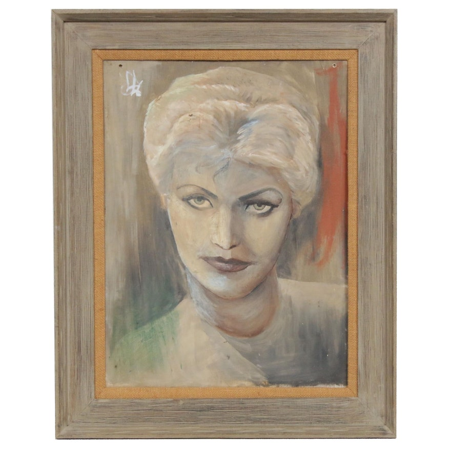 Portrait of Woman Oil Painting, circa Mid-20th Century