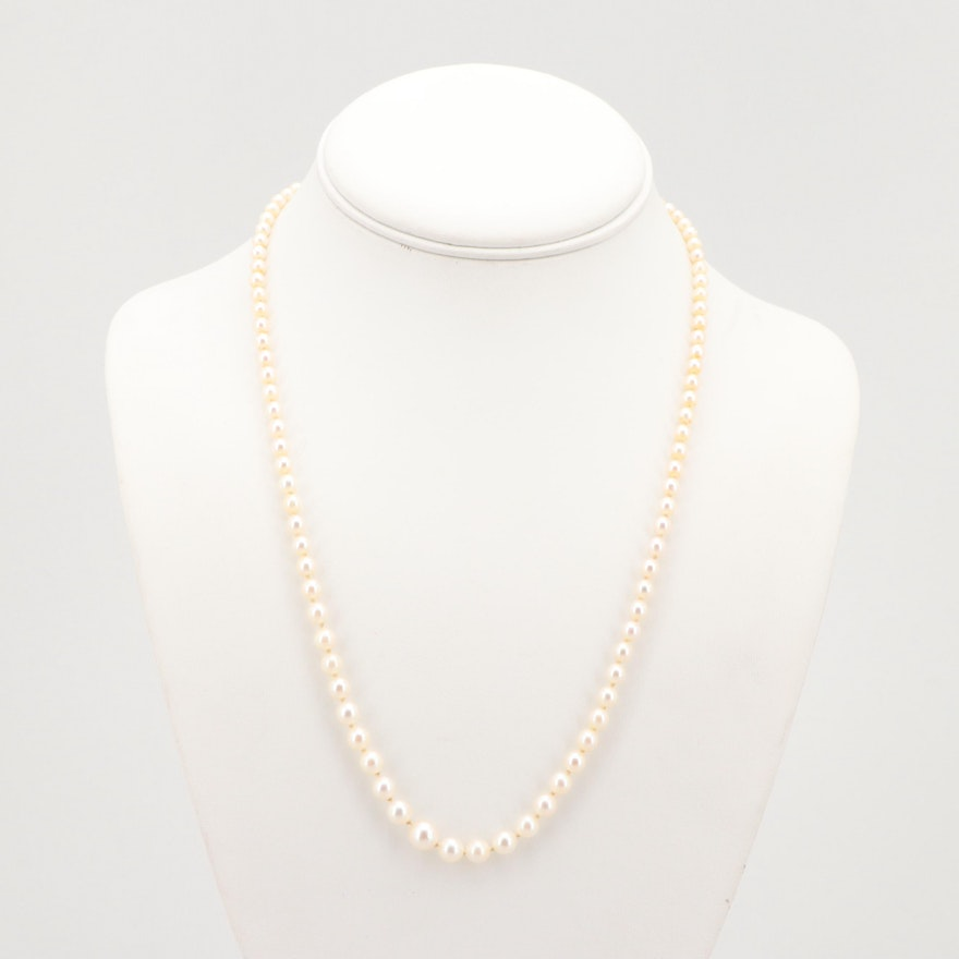 4c94e0335f28e Mikimoto Cultured Saltwater Pearl Necklace with Sterling Silver Clasp ...