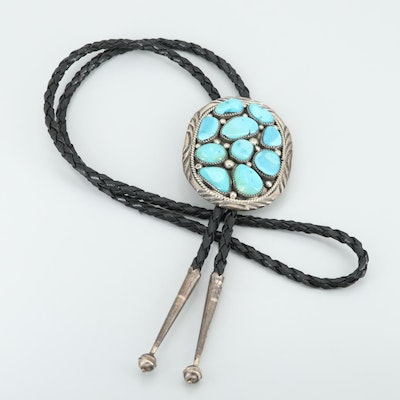 Spencer Navajo Diné Sterling Silver Turquoise Bolo Tie
