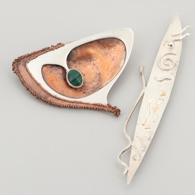Sterling Silver Studio Art Brooches Including Malachite