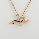 14K Yellow Gold Dolphin Pendant and Rope Chain Necklace