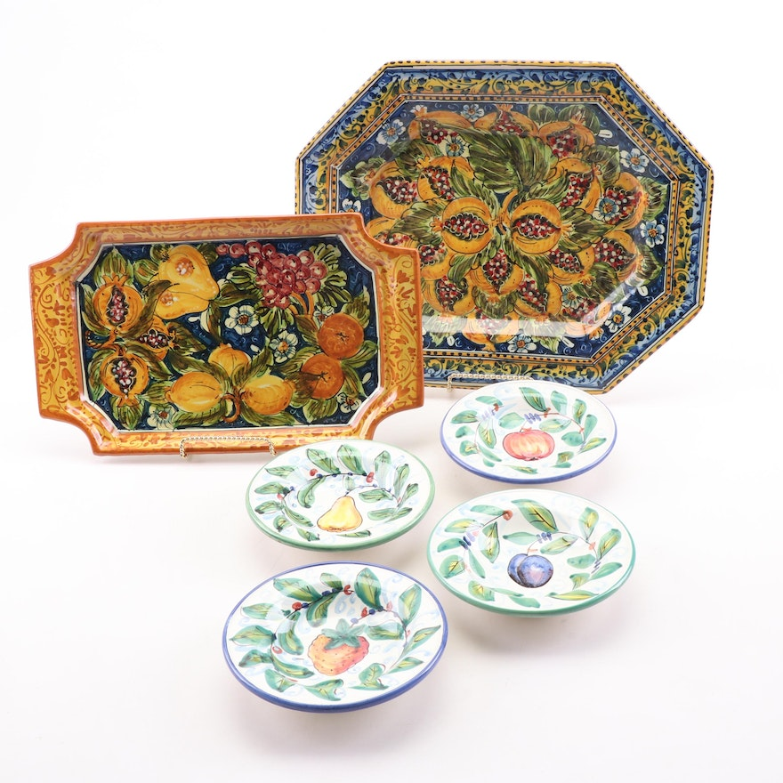Hand-Painted Italian Serving Trays and Decorative Fruit Themed Bowls