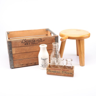Ray Cross Milking Stool with Wooden Crate and Milk Jugs