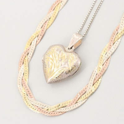 Sterling Silver Braided Chain and Heart Locket Necklaces
