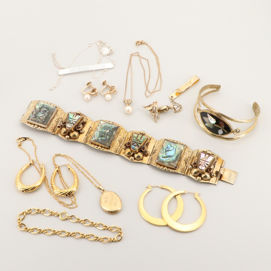 Assortment of Jewelry Including Abalone, Cultured Pearl and Mexican Pieces