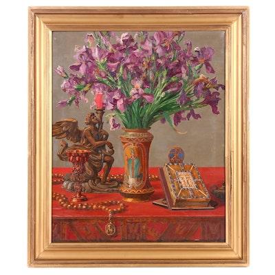 Ernst Albert Fischer-Cörlin 1925 Still Life with Irises Oil Painting