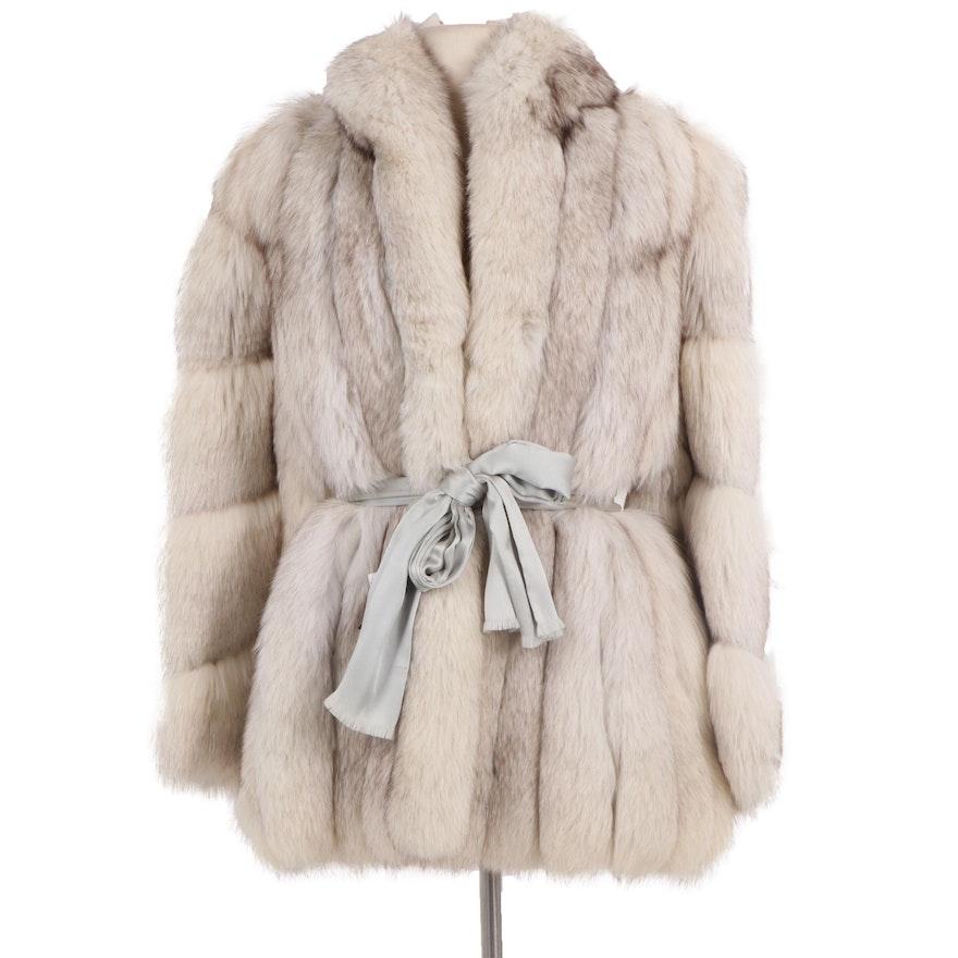 Fox Fur Coat with Light Grey Satin Tie Belt from Sakowitz