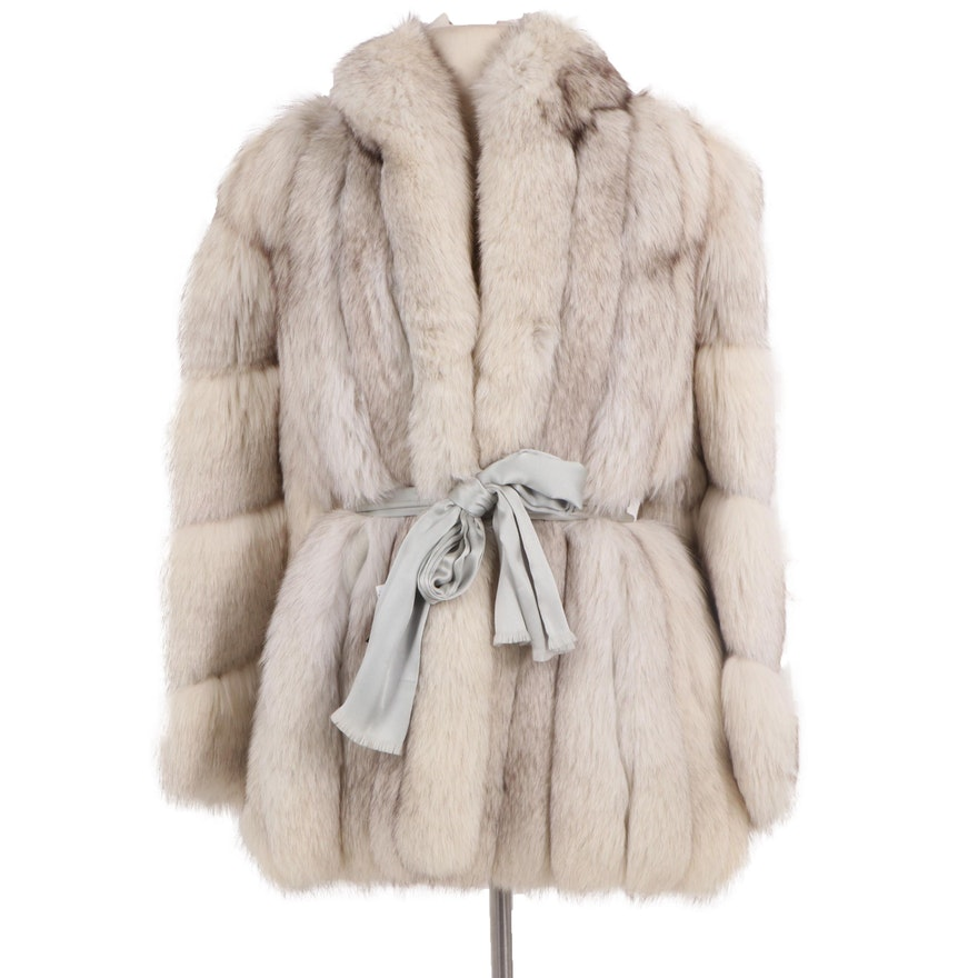 Fox Fur Coat with Light Grey Satin Tie Belt from Sakowitz