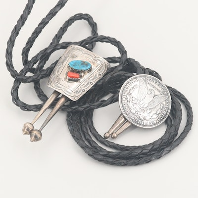 Southwestern Style Sterling Silver Morgan Dollar, Coral and Turquoise Bolo Ties