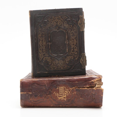 Photographs and Tintypes in Leather Albums, Late 19th Century