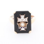 Vintage 10K Gold Black Onyx and Diamond Catholic Fraternity Ring