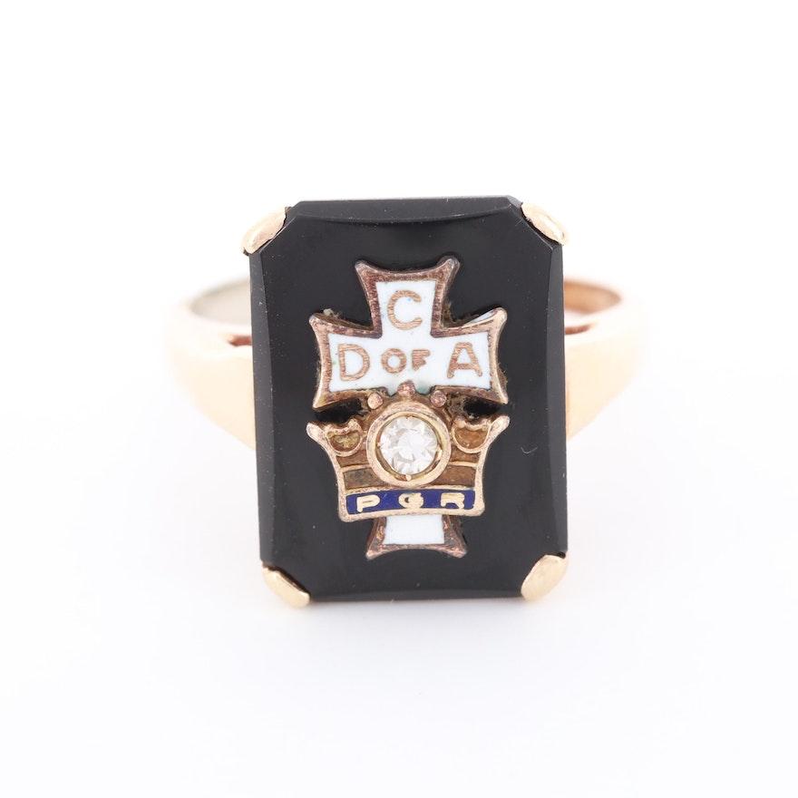 Vintage 10K Gold Black Onyx and Diamond Catholic