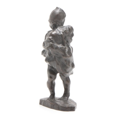 Bronze Figurine of Child and Dog, Mid to Late 20th Century
