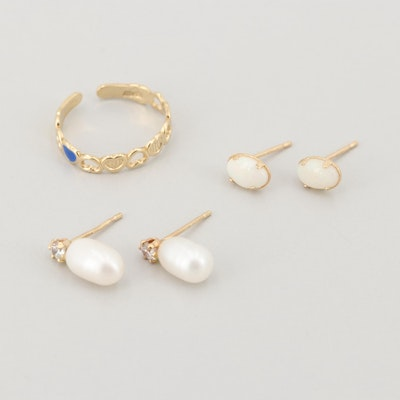 14K Yellow Gold Cultured Pearl, Cubic Zirconia, and Enamel Jewelry Assortment