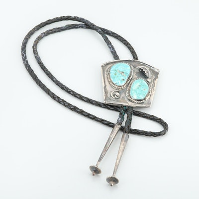 Southwestern Sterling Silver Turquoise Bolo Tie