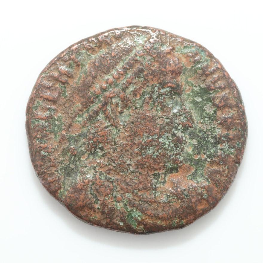 Ancient Roman Imperial Bronze AE4 Reduced Follis Coin, ca. 340 A.D.
