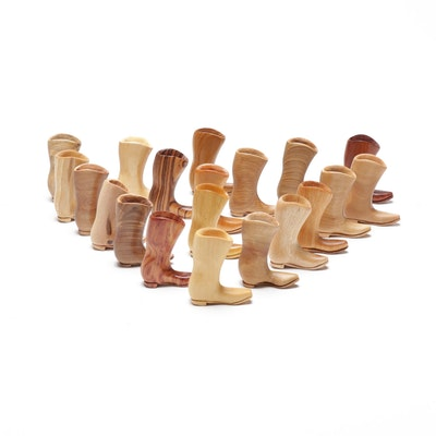 Hand-Carved Wood Specimen Miniature Boots