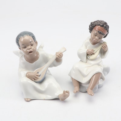 "Lladró ""An Angel's Tune"" and ""Angel with Mandolin"" Porcelain Figurines"