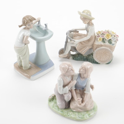 "Lladro ""Clean Up Time"" and Other Porcelain Figurines"